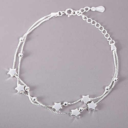 Stilvoll und raffiniert S925 Sterling Silber Transport Perlen Stern Armband Einfache Süße...