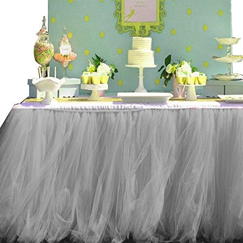 Hoomall Jupe de Table en Tulle Décoration pr Halloween Mariage Fête Maison Anniversaire Noël Gris