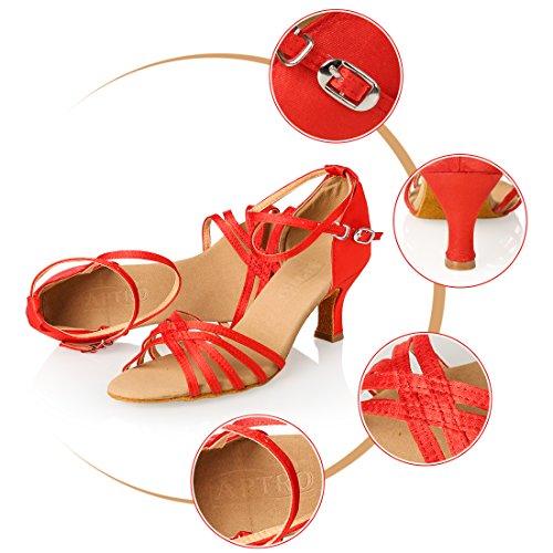 APTRO Damen Ballsaal Latin Tanzen Rot Sandalen 37.5(Asia 38) - 2
