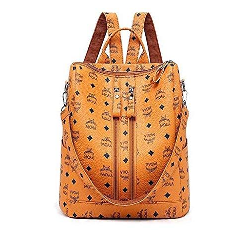 Mode PU-Lederrucksack, Bedruckte Umhängetasche, hochwertiger Vintage-Damenrucksack, diebstahlsicheres Leder großer Kapazität im Freienrucksack, gelb