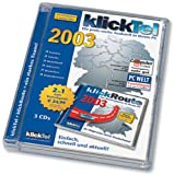 klickTel 2003 plus klickRoute 2003, 3 CD-ROMsDie preis-werte Auskunft in Ihrem PC. Telefon, Telefax, Mobilfunk, Adressen, Branchen. Webadressen. Für Windows 95/98/2000/XP/ME/NT ab 4.0