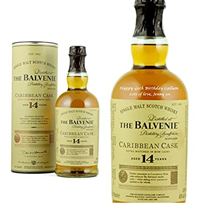 Personalised Balvenie 14 Year Old Caribbean Cask Single Malt Whisky 70cl Engraved Gift Bottle