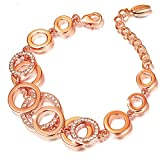 ATEIELLI® Armband Rosegold Farben Verbinden Kreise mit Zirkonia Damen Geschenk #JW-B86