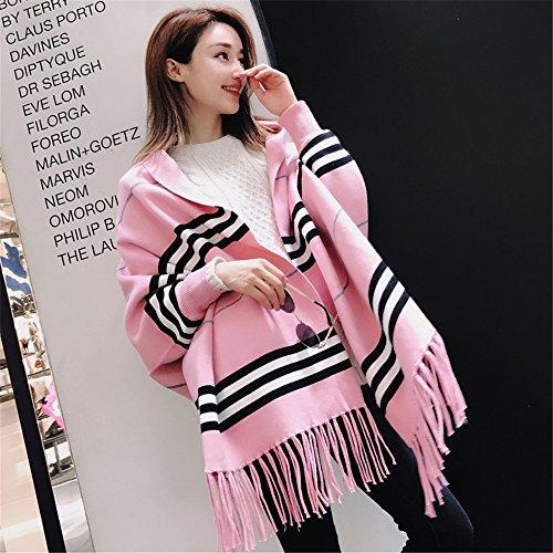 Deux femmes femme écharpe châle tricot hiver manteau manteau manteau climatisation mode automne * 180cm rectangulaire 120cm gris,Anniversaire Noël cadeau saint valentin Pink