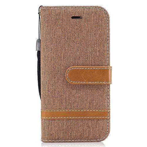 iPhone 7 Coque, Voguecase Étui en cuir synthétique chic avec fonction support pratique pour Apple iPhone 7 4.7 (toile de jean-noir)de Gratuit stylet l'écran aléatoire universelle toile de jean-khaki