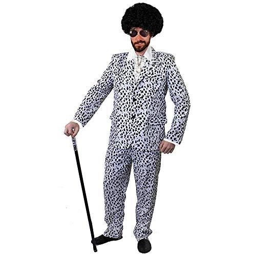 Dalmatiner Kostüm Gruppe - ILOVEFANCYDRESS ZUHÄLTER/Pimp KOSTÜME VERKLEIDUNG 60iger 70s Jahre=Fasching Karneval Disco=WEISSES SEIDIGES RÜSCHEN Hemd+PERÜCKE+Medallion+Dalmatiner Look Hosenanzug+AVAIATOR Brille=Large