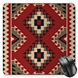 BGLKCS Afghan Mauspads Mouse Pad, Middle Eastern Folklore Pixel Art Triangles Afghan Style Geometric Illustration, Standard Size Rectangle Non-Slip Rubber Mousepad, Multicolor