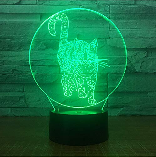 Nachtlicht Für Kinder 3D Illusion Nachtlicht, Touch Button Tisch Schreibtischlampe Mit 7 Farben Licht Für Weihnachten Halloween Geburtstagsgeschenk Gift Süße Katze)
