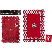 Navidad, manteles individuales y posavasos, rojo, copos de nieve, 8 unidades