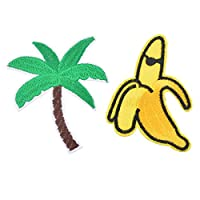 Souarts Coconut Tree Banana Patch Cartoon Brooch Pin Badges Set for Clothes Bag Backpack Jackets