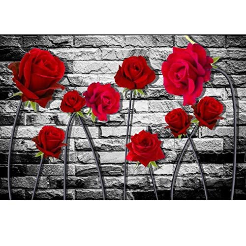 3D Wandbild Familie Wohnzimmer Hintergrund Dekor 3D Wand Papier Fantasie Red Rose Flower Brick Wall 3D Wallpaper,250×175cm (Papier Red Brick)