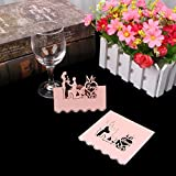 Kofun invito di matrimonio della tavola a forma di cuore di nome segnaposto wedding party Decor (50pezzi/confezione), di colore: Bianco, Carta, rosa, 9x9 cm/3.54x3.54