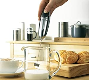 Salter Milk Frother – Handheld Electric Frothing Whisk Multi Purpose Double Coil Hot or Cold Frothiness Froth Milkshake Sauce Cappuccino Latte Coffee Easy Clean Stainless Steel Kitchen Accessory