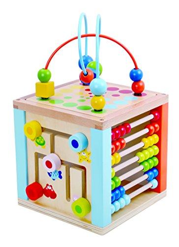 Tooky Toys Spielen Cube Center 5 in 1 Activity Center, Block Labyrinth, Zählen & Holz Uhr, Spiegel und Coaster TKB521-S8 -