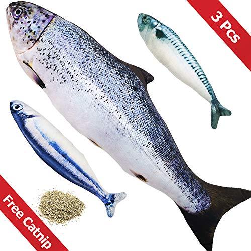 PetIsay Gato Interactivo Juguetes Pescados con Hierba gatera(3 Piezas) - 40cm de salmón + 20cm de Saury y caballa española - Cat Toy Fish with Catnip