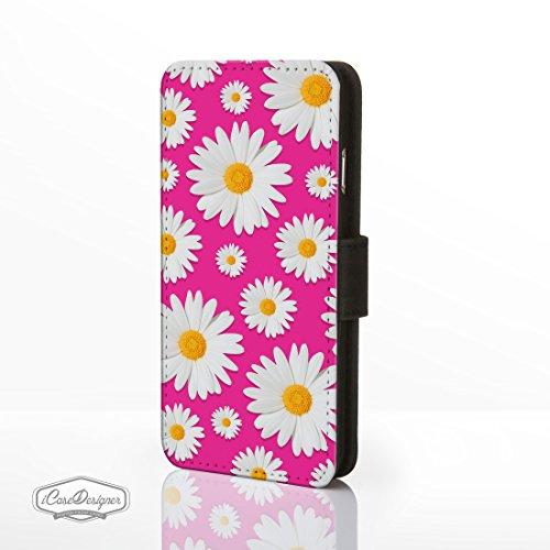 Daisy Motif à rabat en simili cuir pour iPhone modèles. Motif floral Designs par icasedesigner, Cuir synthétique, Design 10: Small Daisies on Cerise Pink, iPhone 5C Design 9: Daisies on Cerise Pink