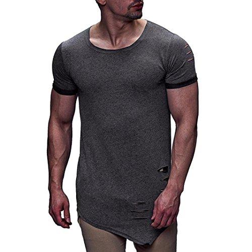 Tees Bluse Tops t-shirt herren Rundhals Shirt Kurzarm Top Shirt Basic Bodybuilding Sport Fitness Weste Sweatshirt Sweater Shirt Top Bluse Crew Rundhals Gym Sport Top Männer LMMVP (Dunkelgrau, L) -