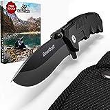 Couteau pliant BearCraft en noir mat avec ** eBook GRATUIT * | Couteau de poche Sharp pour la survie en plein air | Petit couteau à une main avec lame en acier inoxydable et boîtier en aluminium
