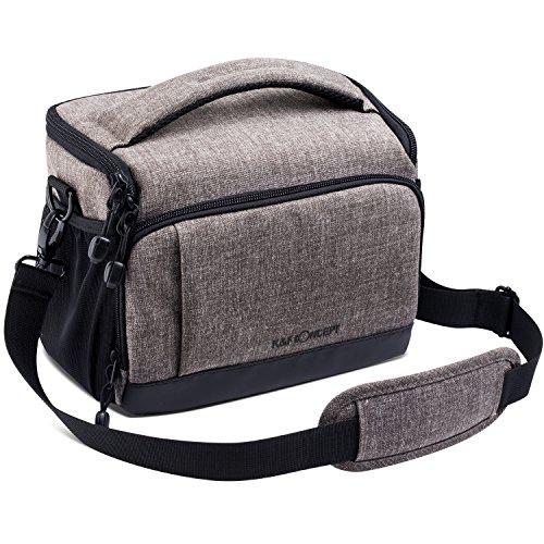K&F Concept®SLR-Kameratasche, Tragbare und Wasserdichte Kameratasche/SLR-Schultertasche für eine DSLR Kamera und zwei Zusatzobjektive mit Regenschutzhülle( L, Khaki)