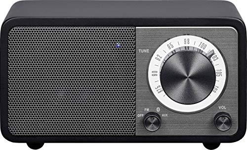 Sangean WR-7 tragbares Desktop-Radio (FM-RDS-Tuner, Bluetooth, AUX-In, integrierter Lautsprecher, Akkubetrieben(aufladbar)) , Matt-Schwarz