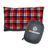 Outdoorer travel pillow, red plaid, small carry-bag, the outdoor cushion