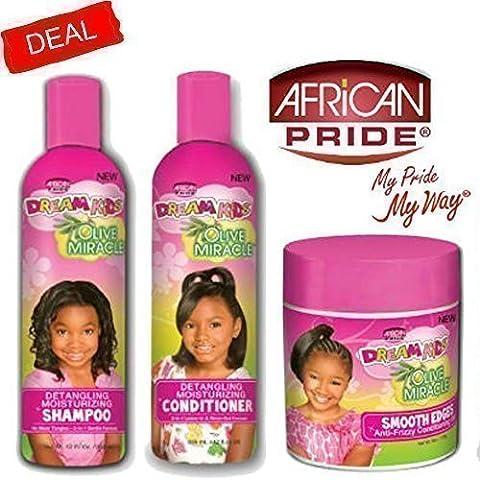African Pride Dream Enfant Olive Miracle Démêlant hydratant Lot de 3produits