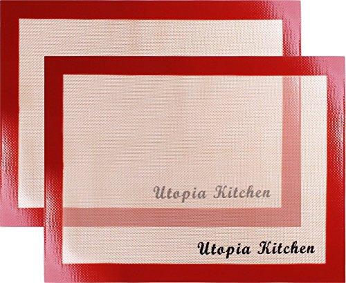 Tapetes para hornear de silicona, paquete de 2, Rojo - by Utopia Kitchen