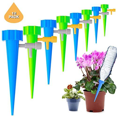 JOLVVN Bewässerungshilfer 12-teiliges Wasserspender Set Bewässerungsspike Blumen-Bewässerungsflasche Automatisches Bewässerungssystem