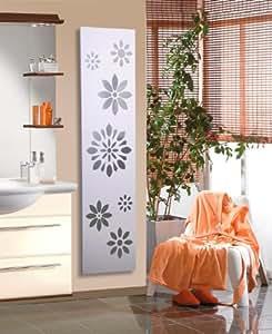 Badheizkörper Design Flower 3, HxB: 180 x 47 cm, 1118 Watt, dunkelgrau (metallic) / weiß (Marke: Szagato) Made in Germany / moderner Bad und Wohnraum-Heizkörper (Mittelanschluss)