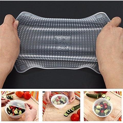 iEFiEL–4pcs elastico trasparente riutilizzabile in silicone alimentare Fresh Keeping, Guarnizione per