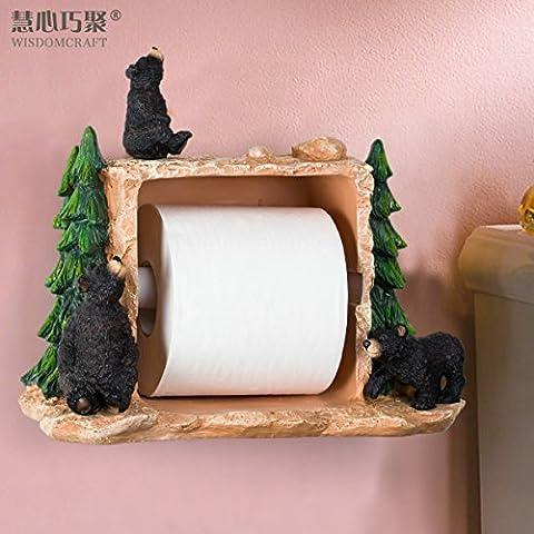 T G & in resina a forma di orso, colore: nero/carta igienica per WC/bagno, asciugamano fazzoletti e porta carta igienica
