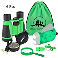 6Pcs Binoculars Set for Kids,Children Binocular, Hand Crank Flashlight, Compass, Magnifying Glass, Whistle, and Drawstring Backpack, Exploration Toy Kit for Camping and Hiking