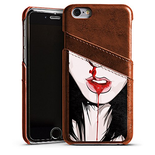 Apple iPhone 5 Housse Étui Silicone Coque Protection Nez Saigner du nez Fille Étui en cuir marron