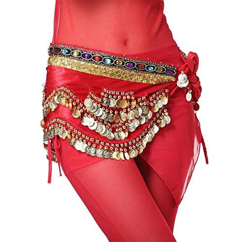 Tanzen Accessories Tribal 4 Rows Gold Bead Coins Colorful Beads Bauchtanz Hüfttuch Skirt (Billig Kostüme Bauchtänzerin)