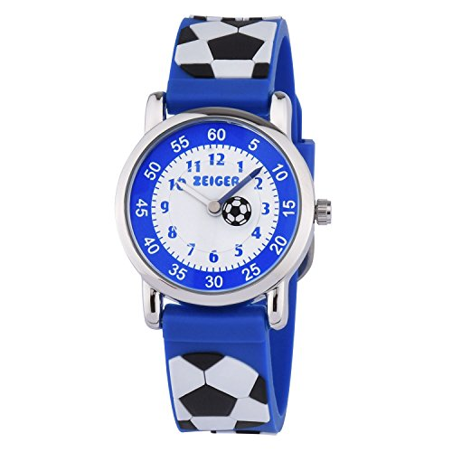Kleine Jungen Rugby (KZKR Kinderuhr Fußball Jungen Armband Uhr Kinder Armbanduhr Blau Sportuhr Lernuhr K091)