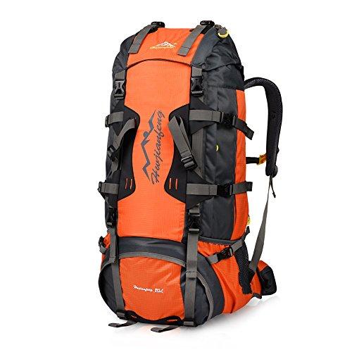 Imagen de vbiger  de 80l impermeable con cubierta de lluvia para viajes senderismo de alpinismo rojo
