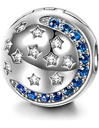 NINAQUEEN Abalorios Charms para mujer Noche estrellada Redonda Plata de ley 925 Luna Estrella con 5A Circonita, Regalos de Navidad, Envases de Regalo para Cada Momento Especial