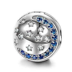 NINAQUEEN Bead Charms für Damen Sternennacht 925 Sterling Silber Mond und Stern mit 5A Zirkonia, Weihnachtsgeschenke, Kommt in Geschenkbox, Nickelfrei Bestanden SGS Test