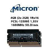 Micron 4 GB (2 x 2GB) DDR3 Dual Channel Kit 1600 mhz SO DIMM (PC3L 12800S) Laptop Memory Laptop Memory Low Voltage RAM