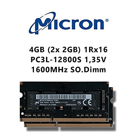 Micron 4GB (2x 2GB) DDR3 Dual-Channel Kit 1600MHz (PC3L 12800S) SO Dimm Low Voltage Notebook Laptop Arbeitsspeicher RAM