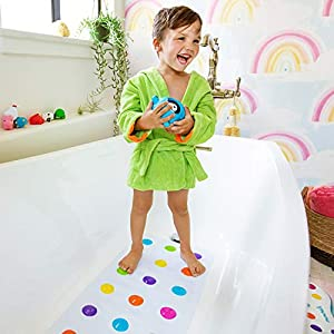 Munchkin Dandy Dots Children's Non Slip Safety Bath Mat, Multi Colour, 77.5 x 36 cm