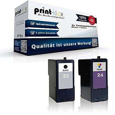 2x kompatible Tintenpatronen für Lexmark 23 24 X 3530 X 3550 X 4500 X 4530 X 4550 X 4550 Sparset (Black + Color) Black und Color Lexmark 23 + Lexmark 24 18C1523E + 18C1419E - Premium Plus (24 Kompatible Tintenpatrone Schwarz)