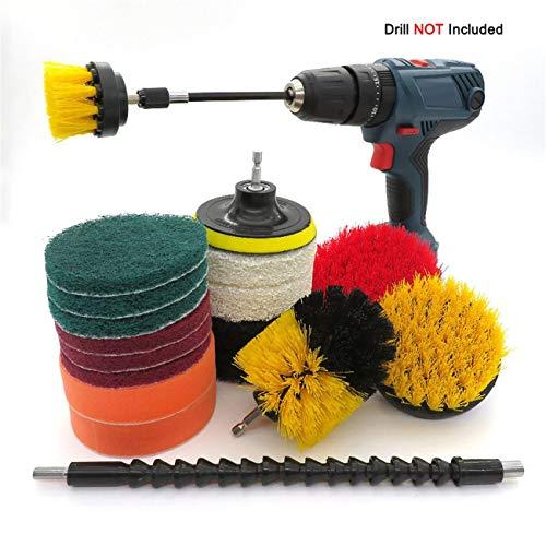 JIUY Neumáticos Taladro eléctrico 19pcs Cepillo de Limpieza Kit de plástico Cepillo...