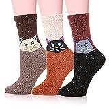 Indeedshare Damen Frauen niedlich Tier Cartoon Mode lässig weiche Wolle Baumwolle Socken - 3 Pack(Katze)