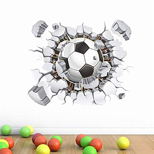 QTXINGMU Efecto 3D Fútbol De Vuelo A Través De Wall Stickers para Niños Habitaciones Bricolaje Vinilos Adhesivos Decorativos para El Hogar Arte Mural De PVC