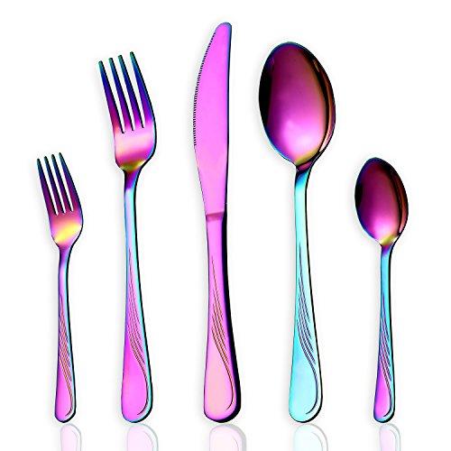 HOMQUEN 30-teiliges Regenbogen-Farbe-Geschirr-Set, Edelstahl-Titan-buntes überzogenes Tischbesteck-Set, Tafelsilber-Set, Service für 4 (Bunt-30 Stück) (Familien Themen Abendessen Für)