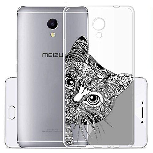 Cover Per Meizu M5S 5,2 pollici,Sunrive® Custodia Case in molle Trasparente TPU silicone Morbida Flessibile Pelle Antigraffio protettiva(tpu Gatto)