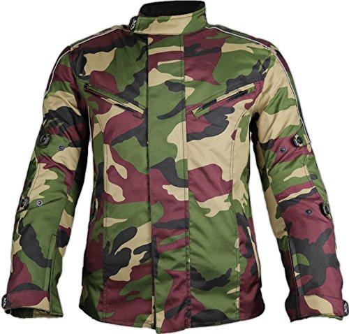 MDM Motorradjacke für Herren in schönen Camouflage Farben (XL, Camo Grün) (Motorrad-jacke Grün)