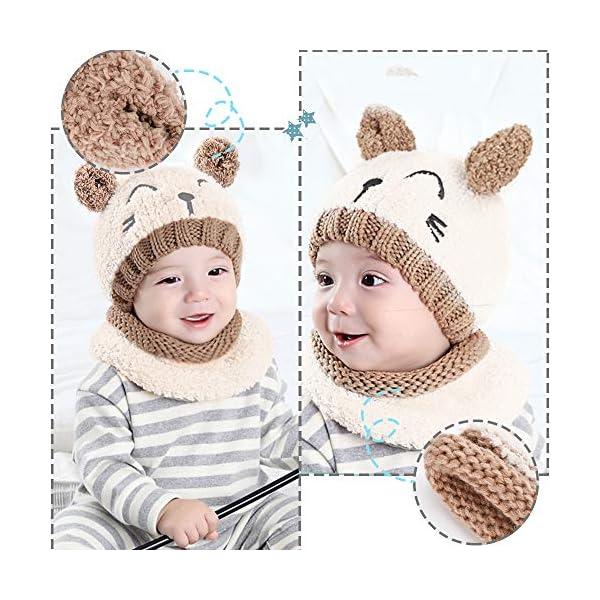 Gifort Bambino Cappello Inverno Sciarpa e Guanti 3 Pezzi/Set, Infantile Berretto a Maglia Caldo con Sciarpa a Cerchio… 4 spesavip