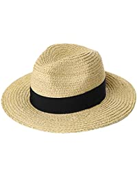 Siggi Raffia Straw Fedora Panama Style Sun Hats for Beach Safari Hat  Packable   Adjustable 23d23fd2d179
